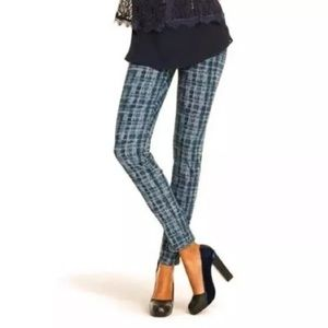 Cabi #3047 Blue Grid Print Skinny Jeans